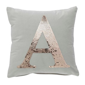 Sequin Alphabet Letter A Cushion