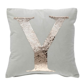 Sequin Alphabet Letter Y Cushion