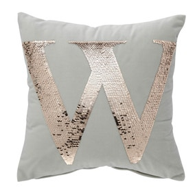 Sequin Alphabet Letter W Cushion