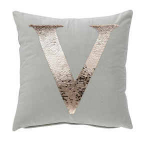 Sequin Alphabet Letter V Cushion