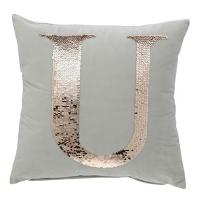 Sequin Alphabet Letter U Cushion