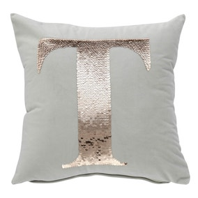 Sequin Alphabet Letter T Cushion