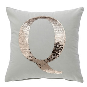 Sequin Alphabet Letter Q Cushion