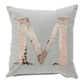 Sequin Alphabet Letter M Cushion