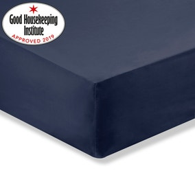 Non Iron Plain Dye Navy Fitted Sheet
