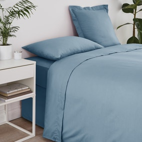 Non Iron Plain Dye Denim Blue Flat Sheet