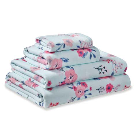 Sakura Floral Blue Cotton Towel
