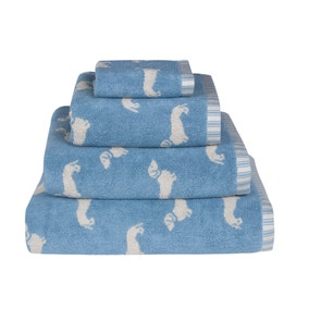 Emily Bond Blue Dachshund Cotton Towel