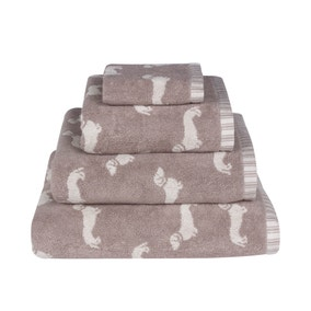 Emily Bond Natural Dachshund Cotton Towel