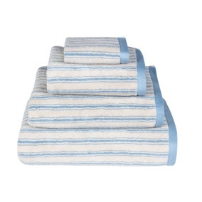 Emily Bond Blue Ticking Stripe Cotton Towel