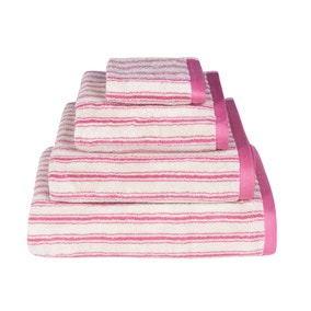 Emily Bond Pink Ticking Stripe Cotton Towel