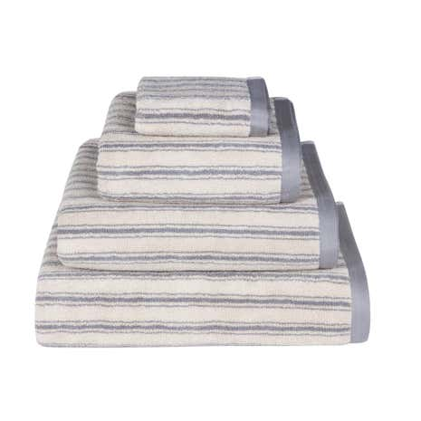 Emily Bond Grey Ticking Stripe Cotton Towel
