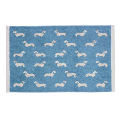 Emily Bond Blue Dachshund Cotton Bath Mat