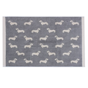 Emily Bond Grey Dachshund Cotton Bath Mat