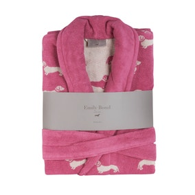 Emily Bond Pink Dachshund Cotton Bathrobe