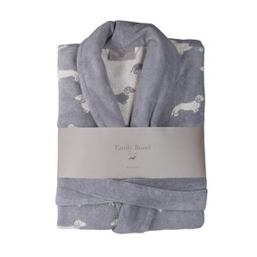 Emily Bond Grey Dachshund Cotton Bathrobe