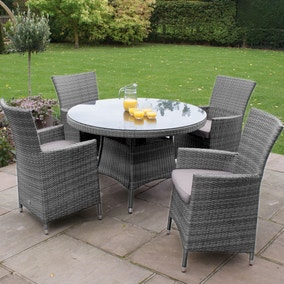 Miami 4 Seat Grey Round Dining Set