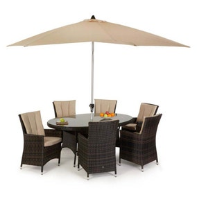 Maze Rattan LA Brown 6 Seat Oval Dining Set