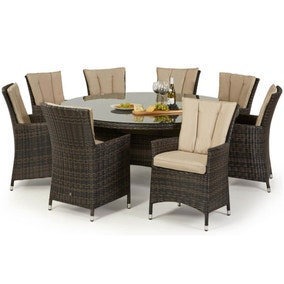 Maze Rattan LA Brown 8 Seat Round Dining Set
