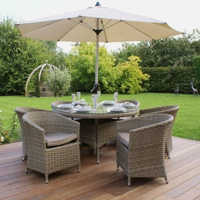 Maze Rattan Milan Beige 6 Seat Dining Set With Rounded Armchairs