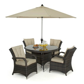 Maze Rattan Texas Brown 4 Seat Dining Set