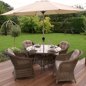 maze rattan winchester 4 seat dining set with rounded armchairs - Rattan Garden Furniture 4 Seater
