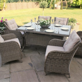 maze rattan winchester 6 seat dining set with square armchairs - Garden Furniture 6 Seats