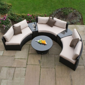 Maze Rattan Brown Half Moon Sofa Set