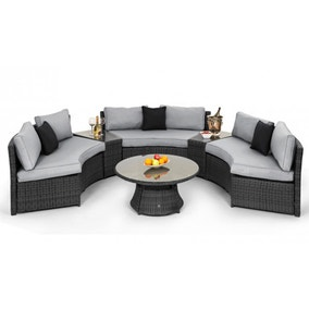 Maze Rattan Grey Half Moon Sofa Set