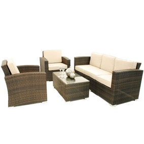 Maze Rattan Kingston Brown 5 Seat Sofa Set