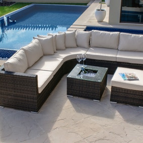 maze rattan barcelona brown sofa set with ice bucket table