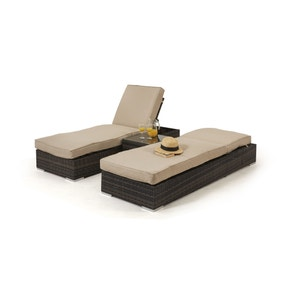 maze rattan orlando brown set of 2 sun loungers loz_exclusively_online - Garden Furniture Loungers
