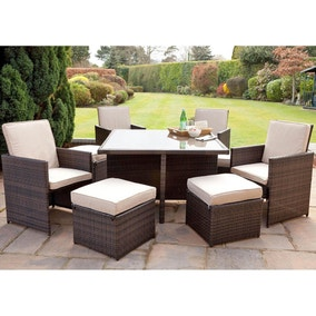 Maze Rattan Brown Cube Set with Foot Stools