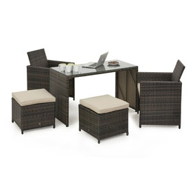 Maze Rattan Brown Cube Balcony Set