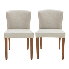 Jacob Pair of Light Grey Faux Leather Chairs