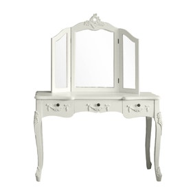 Toulouse White Large Dressing Table and Mirror