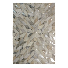 Natural Metallic Patchwork Rug