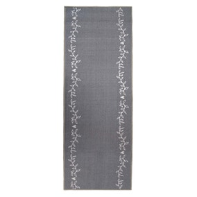 Grey Leaf Washable Runner