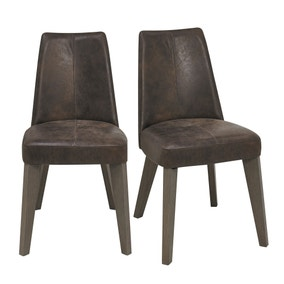 Cadell Distressed Faux Leather Pair of Dining Chairs