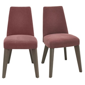 Cadell Mulberry Upholstered Pair of Dining Chairs