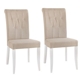 Eaton Two Tone Upholstered Pair of Dining Chairs