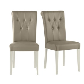 Eaton Olive Grey Faux Leather Pair of Dining Chairs