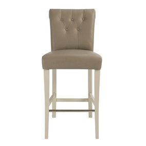 Eaton Olive Grey Faux Leather Pair of Bar Stools