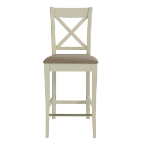 Eaton Olive Grey Pair of Fabric Cross Back Bar Stools