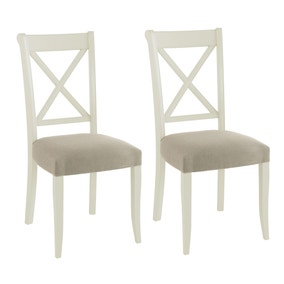 Eaton Soft Grey Pair of Fabric Cross Back Dining Chairs