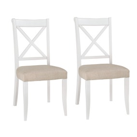Eaton Olive Grey Pair of Fabric Cross Back Dining Chairs