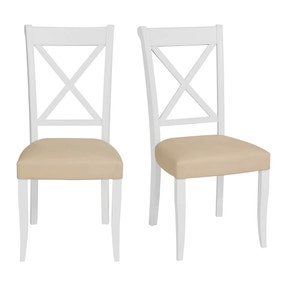 Eaton Two Tone Pair of Cross Back Dining Chairs