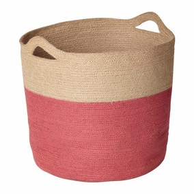 Pink Dipped Woven Laundry Basket
