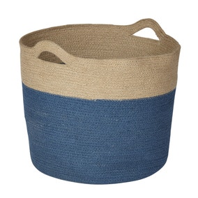 Blue Dipped Woven Laundry Basket