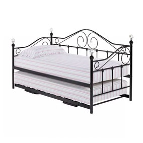 Florence Black Day Bed with Trundle